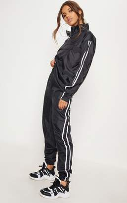 PrettyLittleThing Chocolate Contrast Sport Stripe Shell Cuff Jogger