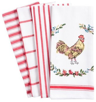 Pantry Rooster Kitchen Dish Towel Set of 4, 100-Percent Cotton, 18 x 28-inch