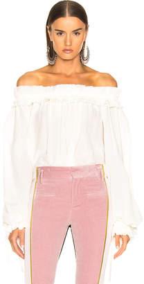 Haider Ackermann Blouson Sleeve Off Shoulder Blouse in Cream | FWRD