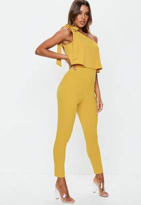 Missguided Mustard One Shoulder Bow Romper