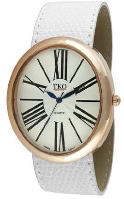 TKO ORLOGI 14K Rose Gold Plated Oversized Roman Numeral White Leather Slap Dress Watch TK617-RWT