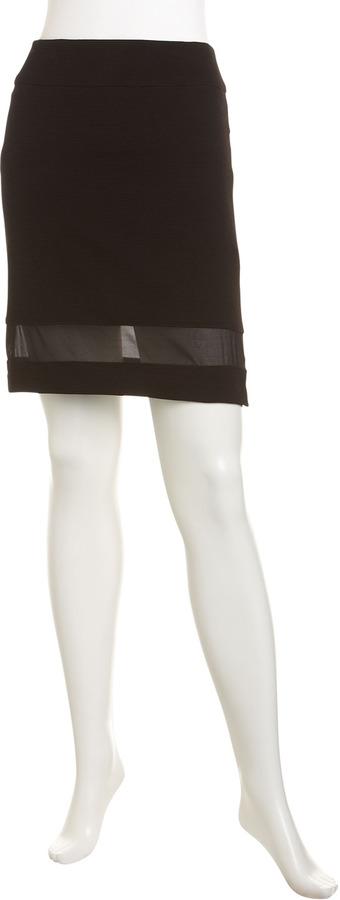 Nanette Lepore Illusion Ribbed Pencil Skirt, Licorice
