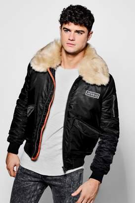 boohoo Faux Fur Collar MA1 Bomber Jacket