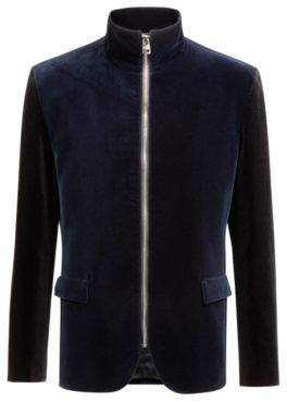 HUGO Boss Zippered regular-fit jacket in cotton velvet 38R Dark Blue