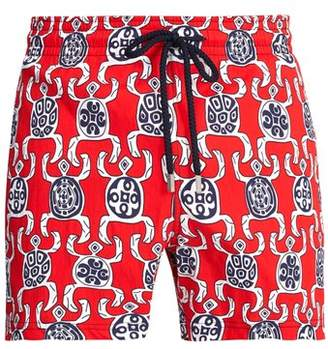 Vilebrequin Primitive Turtles Swim Shorts - Mens - Red