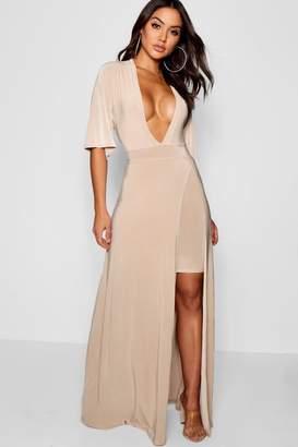 boohoo Celyn Slinky Plunge Kimono Sleeve Maxi Dress