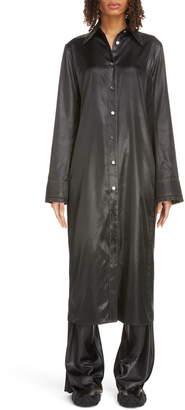 Acne Studios Dimara Tech Long Sleeve Satin Midi Shirtdress