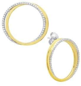 Crislu Dia Link 18k Gold and Platinum Finished Silver Roll Earrings