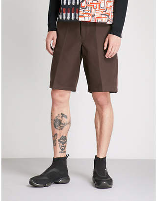 Prada High-rise wide woven shorts