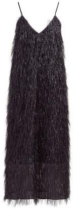Raey V Neck Tinsel Midi Slip Dress - Womens - Black