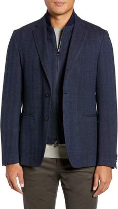 BOSS Nanon Trim Fit Herringbone Wool & Cotton Sport Coat
