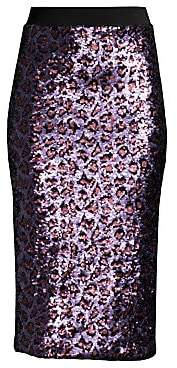 Le Superbe Le Superbe Women's Liza Leopard Sequin Pencil Skirt