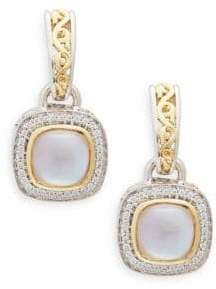Mother of Pearl Ivy Sterling Silver, 18K Yellow Gold, 14K White Gold, Pink Mother-Of-Pearl & Diamond Drop Earrings