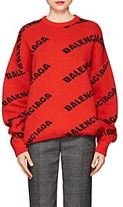 Balenciaga Women's Logo Stretch-Wool Sweater - Red