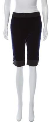 Emporio Armani Velvet Knee-Length Shorts Blue Velvet Knee-Length Shorts