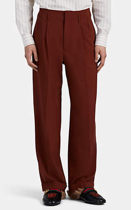 Gucci Men's Worsted Wool Wide-Leg Trousers - Brown