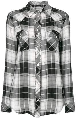 Ermanno Ermanno rhinestone trim checked shirt