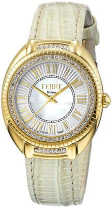 Ferré Milano Women's 34mm Stainless Steel 3-Hand Roman Glitz Watch with Leather Strap, Golden