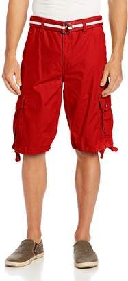 Southpole Men's Belted Ripstop Basic Cargo Short with Washing and 13.5 Inch Length All Season