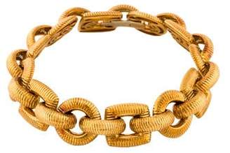 Paul Morelli 18K Alternating Ribbed Circle & Square Link Bracelet.