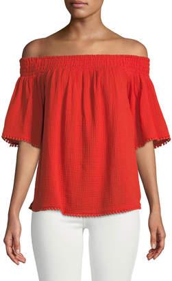 Rachel Roy Smocked Off-the-Shoulder Bell-Sleeve Top