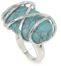 Robert Lee Morris Turks & Beads Silvertone & Turquoise Wire Wrapped Ring
