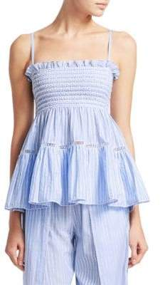 Jonathan Simkhai Stripe Cotton Chambray Tiered Tank