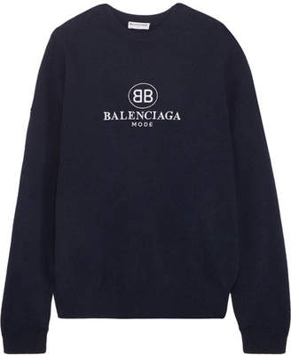 Balenciaga Embroidered Stretch Wool And Cashmere-blend Sweater - Navy