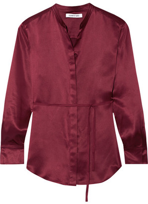Elizabeth and James - Wiley Silk-satin Shirt - Burgundy $375 thestylecure.com