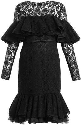 Giambattista Valli Layered ruffled cotton-blend macramé-lace dress