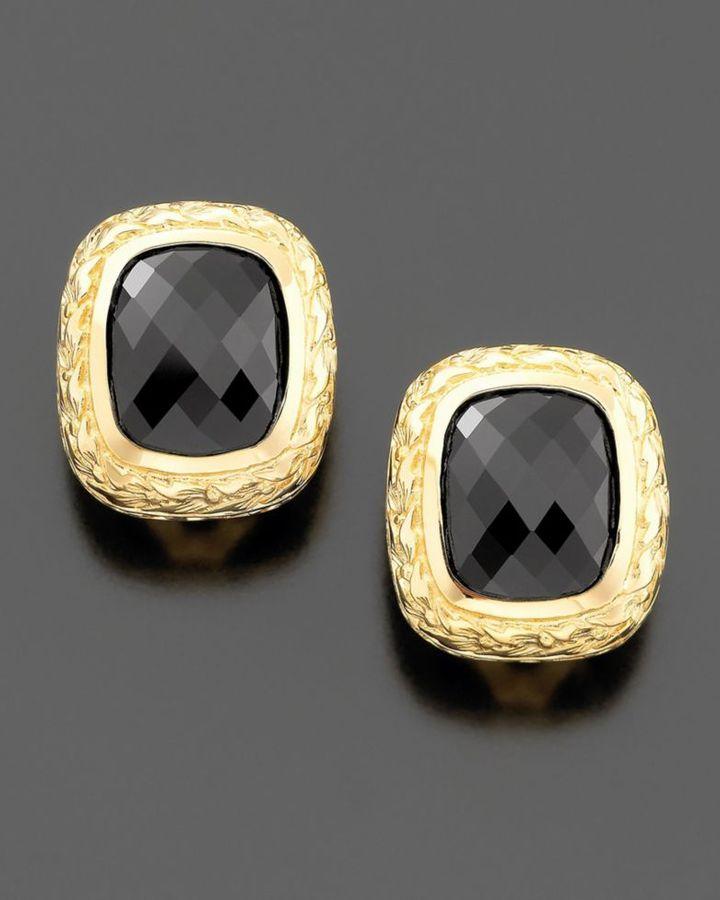 14k Gold Square Onyx Earrings