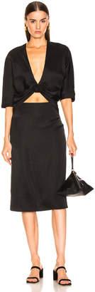 Jil Sander V Neck Cutout Dress in Black | FWRD