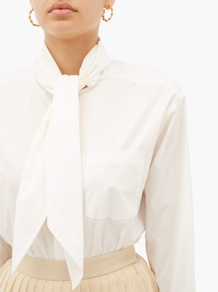 Sea Louise Neck Tie Cotton Blend Poplin Blouse - Womens - White