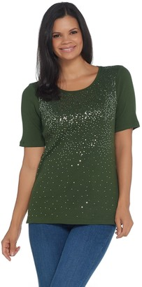 Factory Quacker Elbow-Sleeve Metallic Sequin Scoop Neck Rib Knit Top