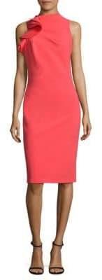 Badgley Mischka Ruffled Open-Back Dress