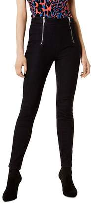 Karen Millen Zip-Front Denim Leggings