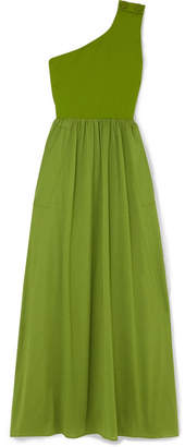 Eres Pop Bay Button-detailed One-shoulder Cotton-jersey Dress - Green