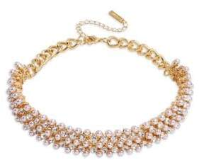 Cezanne Faux Pearl and Crystal-Embellished Choker Necklace