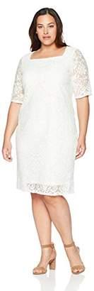 Tiana B Women's Plus Size Elbow Sleeve lace Dress
