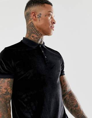 Asos Design DESIGN polo shirt in velour in black