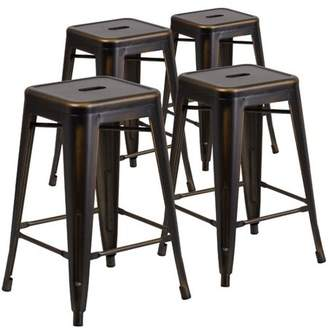 """Flash Furniture 4-Pack 24"""" High Backless Distressed Copper Metal Indoor Counter Height Stool"""
