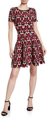 Alaia Scallop-Hem Floral-Embossed Fit & Flare Dress
