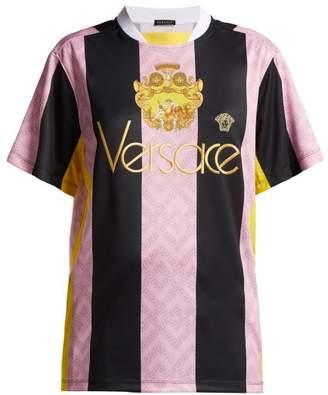 Versace Striped Football Shirt - Womens - Pink Multi