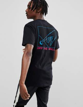 Vans Button Pusher T-Shirt With Back Print In Black VA36UEBLK