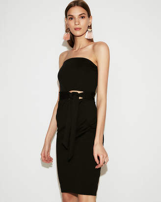 Express Tie Front Cut-Out Midi Sheath Dress