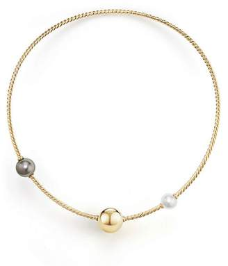 David Yurman Solari Single Row Cable Necklace with Tahitian Gray Pearl and South Sea White Pearl in 18K Gold