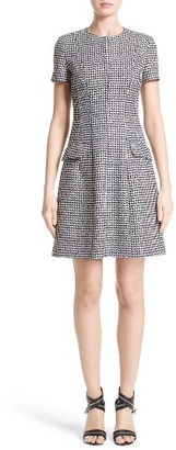Women's Michael Kors Houndstooth Wool Jacquard A-Line Dress $1,475 thestylecure.com