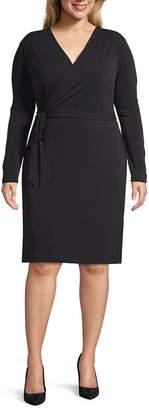 Bold Elements Long Sleeve Wrap Dress-Plus