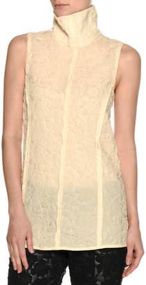 Marni Sheer 3D Floral Turtleneck Top, Cream