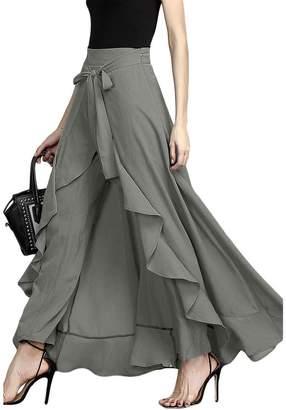 MuCoo Women's Casual Chiffon Tie-Waist High Slit Ruffle Palazzon Pant Overlay Maxi Skirt XXL